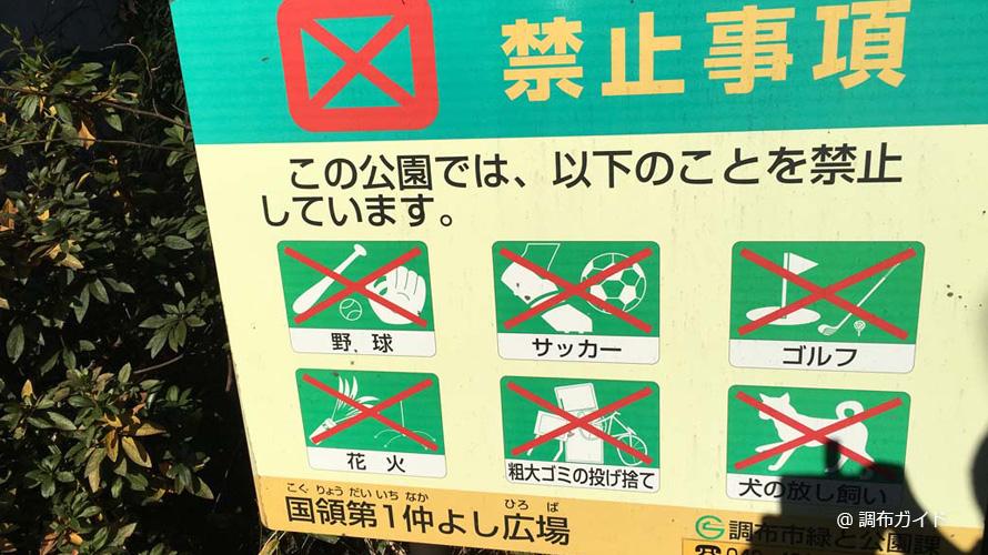 国領第1なかよし広場の禁止事項