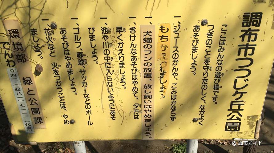 つつじヶ丘公園の注意事項